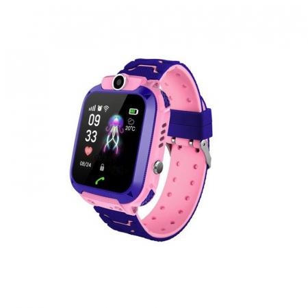 Ceas smartwatch copii GPS Q12, rezistent la apa, telefon, touchscreen, foto, monitorizare spion, buton SOS, roz1